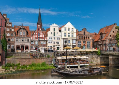 Lüneburg, Germany - June 26, 2020: The old town with the historic harbor.