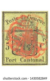 GERMANY - JUNE 9, 2019: 5 cent Geneva cantonal stamp from 1847 isolated on white background.