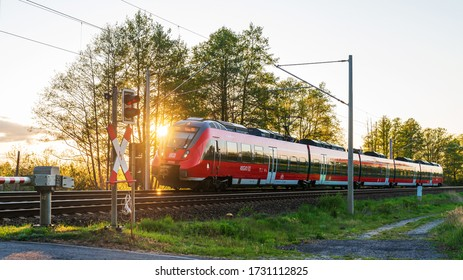 Germany , Krimnitz , 05.05.2020 , A DB Regio train at sunset