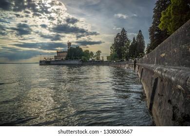 Germany Lake Constance summertime shore wall at lake side
