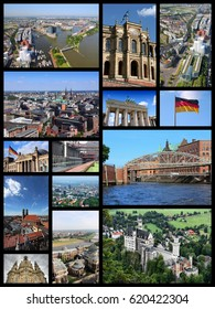 Germany landmarks - travel photos collage with Berlin, Munich, Hamburg, Dresden, Dusseldorf, Dortmund and Essen.
