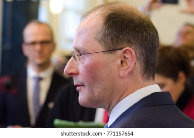 GERMANY, LEIPZIG - DEZEMBER 07, 2017: GERMANY, LEIPZIG - DEZEMBER 07, 2017: Markus Ulbig speaks to the press at the opening of the Conference of Interior Ministers