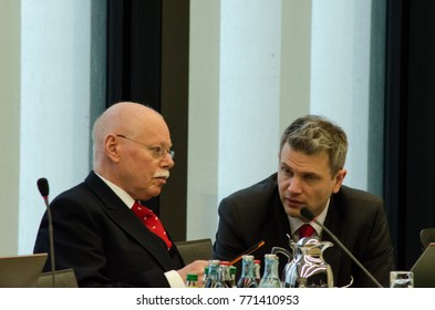 GERMANY, LEIPZIG - DEZEMBER 07, 2017: Ulrich Maeurer, Minister of the Interior of the SPD in Bremen talking to the Conference of Interior Ministers