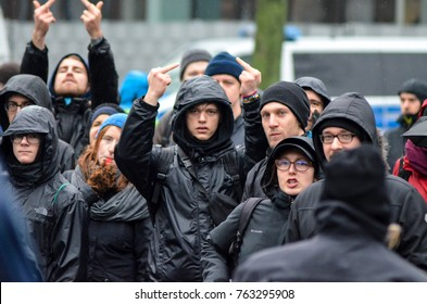 GERMANY, LEIPZIG - NOVEMBER 25, 2017: antifa demonstration police