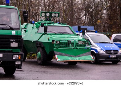 GERMANY, LEIPZIG - NOVEMBER 25, 2017: antifa demonstration tank