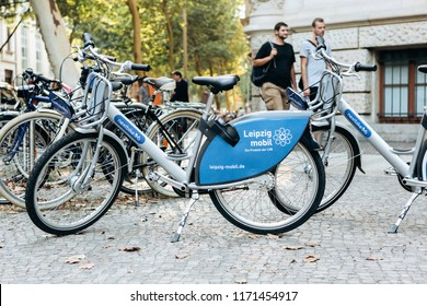 Germany, Leipzig, September 3, 2018: Bicycle rental on Leipzig Street. A popular means of transportation in Europe among tourists and local residents. Ecological transport.