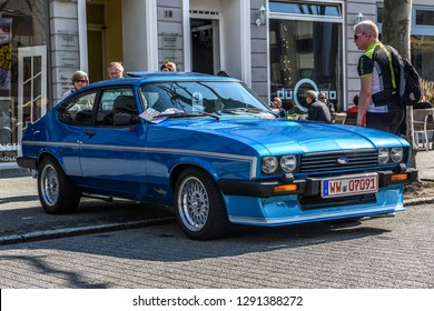 GERMANY, LIMBURG - APR 2017: blue FORD CAPRI MK III 1978 in Limburg an der Lahn, Hesse, Germany.