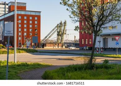 Germany, Mannheim, 23.03.2020: Mannheim port directly on the rhine