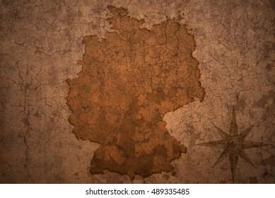 germany map on a old vintage crack paper background