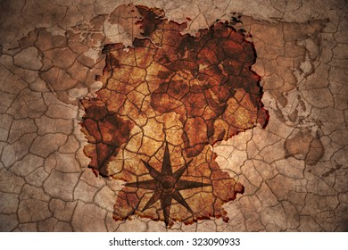 germany map on vintage crack paper background