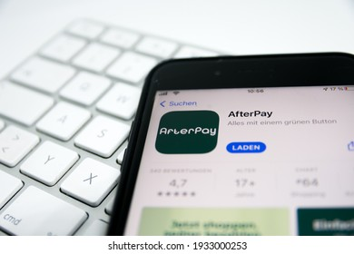 Germany - March 2021: Afterpay Limited is an Australian financial technology company operating in Canada, the United Kingdom, Australia, the United States and New Zealand.
