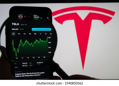 Germany - March 22, 2021: Tesla Motor shares, NASDAQ TSLA of the electric vehicle maker currently Tesla has moved up the list of the largest publicly traded American company.