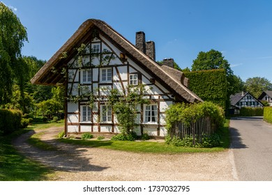 Höfen, Germany - May 17, 2020: Street with traditional half-timbered houses