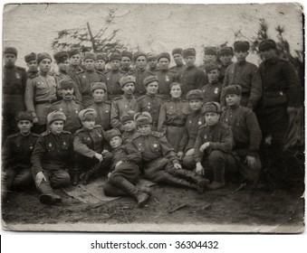 GERMANY- MAY 1:Group photo of Soviet soldiers in the Second World War May 1, 1945 in Germany. The war leads to creation of United Nations and emergence of United States and Soviet Union as superpowers