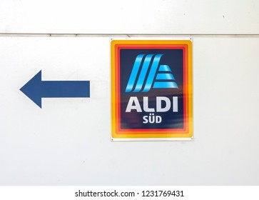 Nürnberg, GERMANY MAY 21, 2018: Commercial sign of ALDI Store. The German-based discount supermarket chain currently operates over 10,000 stores.