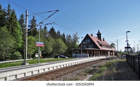 Feldberg-Bärental / Germany - May 28 2017: The train station of Feldberg - Bärental in the Black Forest in Germany