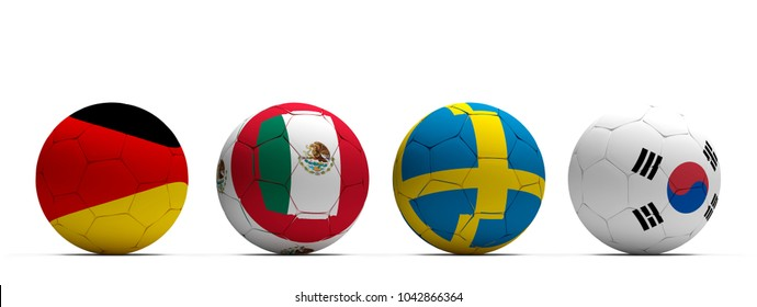 Germany Mexico Sweden Korea Republic soccer football ball 3d rendering Group B
