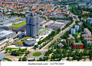 Germany, Munich - June 21, 2018: The BMW Museum is an automobile museum of BMW history located near the Olympiapark
