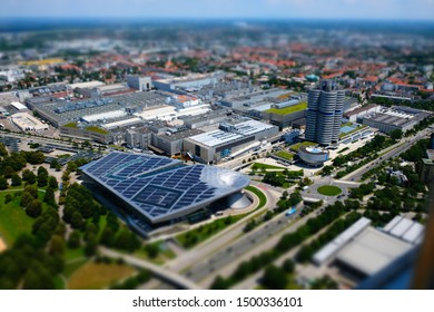 Germany, Munich - June 21, 2018: View on BMW Welt and BMW Museum from the head of Olympiaturm