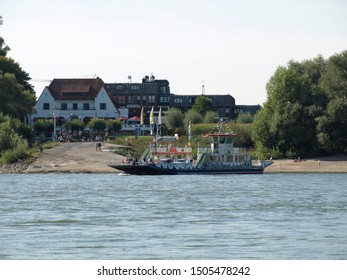 "Germany, NRW, Duesseldorf Kaiserswerth. 2019-09-14. Ferry ""Michaela II"" between Kaiserswerth and Meerbusch on the river Rhine"