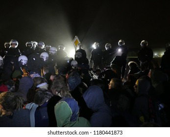 GERMANY, NRW, HAMBACH FOREST, September 15, 2018: Massive police force clearing a sit-in on an access road to Hambach Forest, where protesters and supporters were holding a vigil