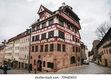 Germany, Nuremberg, December 27, 2016: Albrecht Durer's House. A famous building in the city. Sight.