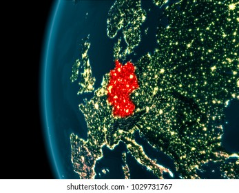 Germany from orbit of planet Earth at night with highly detailed surface textures. 3D illustration. Elements of this image furnished by NASA.