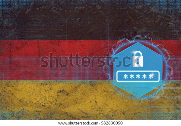 Germany password protection. Network security concept.
