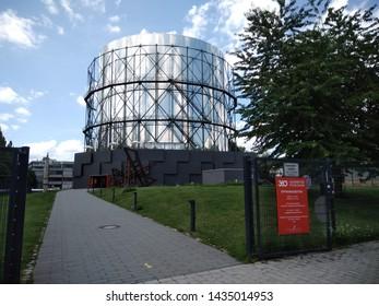 GERMANY, PFORZHEIM - JUNE 21, 2019: Entrance to the 360° Panorama Exhibition in the Gasometer Pforzheim