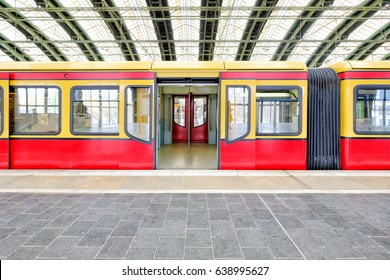 Germany red train wagon with an open door