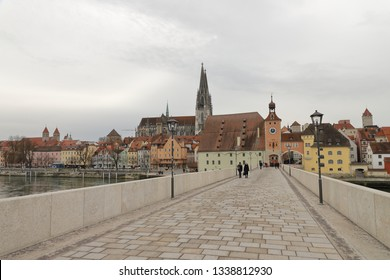 GERMANY, REGENSBURG, FEBRUARY 01, 2019: View from the Stone Bridge to the Old Town