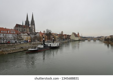 GERMANY, REGENSBURG, FEBRUARY 01, 2019: Regensburg is located at the Danube river