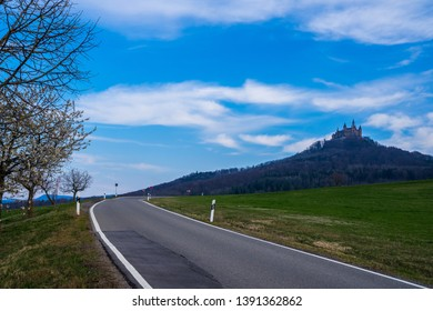 Germany, Road up to famous hohenzollern castle on a mountain in swabian jura forest
