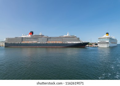 Germany , Rostock , 10.09.2014 , The cruise ships Queen Victoria and Costa Pacifica has moored in the harbour of Rostock