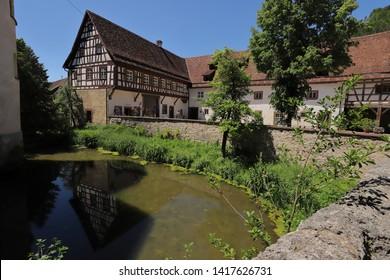 GERMANY, ROTTWEIL, SULZ AM NECKAR, GLATT, JUNE 02, 2019: Moat and buildings of the castle in Glatt