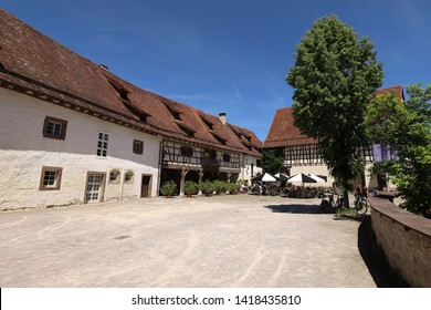 GERMANY, ROTTWEIL, SULZ AM NECKAR, GLATT, JUNE 02, 2019: Courtyard at the moated castle in Glatt