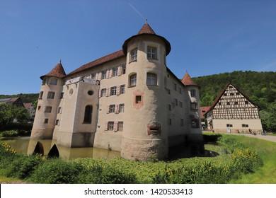 GERMANY, ROTTWEIL, SULZ AM NECKAR, GLATT, JUNE 02, 2019: Moated Castle in Glatt