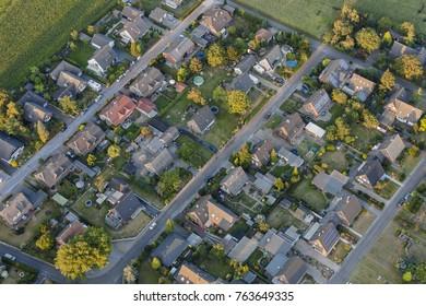 HÜNXE, GERMANY - SEPTEMBER 9, 2012: Aerial view of residential buildings in Hünxe, Germany