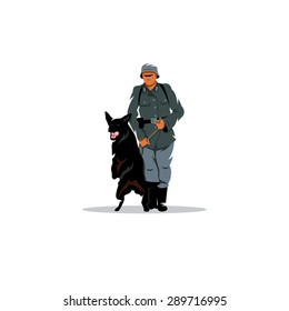Germany soldier with dog sign.  Branding Identity Corporate logo design template Isolated on a white background