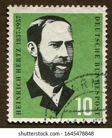 Germany stamp circa 1957 : a stamp printed in Germany shows Heinrich Hertz(1857-1894), physicist, birth century.