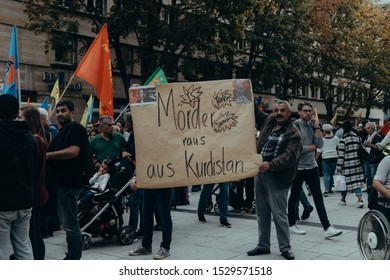 Germany, Stuttgart 12.10.2019 - demonstration against the turkish attack on the kurdish people in syria