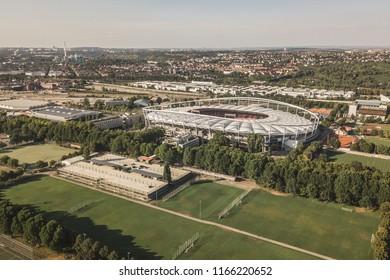 Germany, Stuttgart, August 2018 - Aerial view of stadium Mercedes-Benz Arena