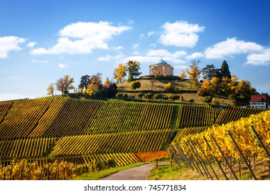 Germany Stuttgart View of mausoleum Rotenberg in the vineyards in autumn