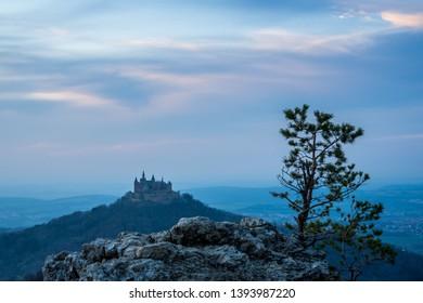 Germany, Swabian jura nature landscape surrounding magic hohenzollern castle in twilight mood