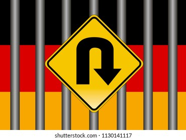 Germany tightens asylum laws. Concept sign for the German laws to restrict refugees from crossing the border