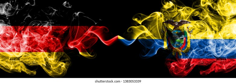 Germany vs Ecuador, Ecuadorian smoky mystic flags placed side by side. Thick colored silky smoke flags of Deutschland and Ecuador, Ecuadorian.