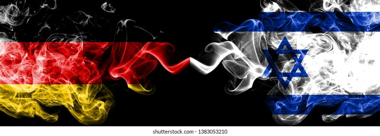 Germany vs Israel, Israeli smoky mystic flags placed side by side. Thick colored silky smoke flags of Deutschland and Israel, Israeli.