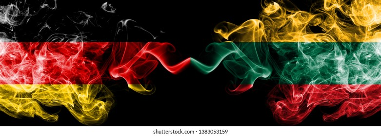 Germany vs Lithuania, Lithuanian smoky mystic flags placed side by side. Thick colored silky smoke flags of Deutschland and Lithuania, Lithuanian.