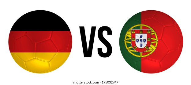 Germany VS Portugal soccer ball concept isolated on white background