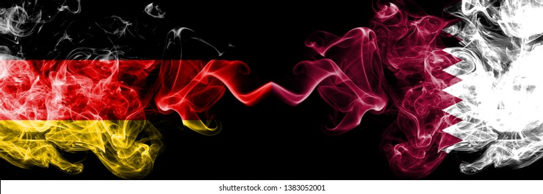 Germany vs Qatar, Qatari smoky mystic flags placed side by side. Thick colored silky smoke flags of Deutschland and Qatar, Qatari.